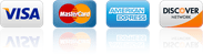 We accept Visa, Mastercard, American Express and Discover Credit Cards